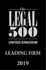 Legal 500 UK Leading Firm 2019